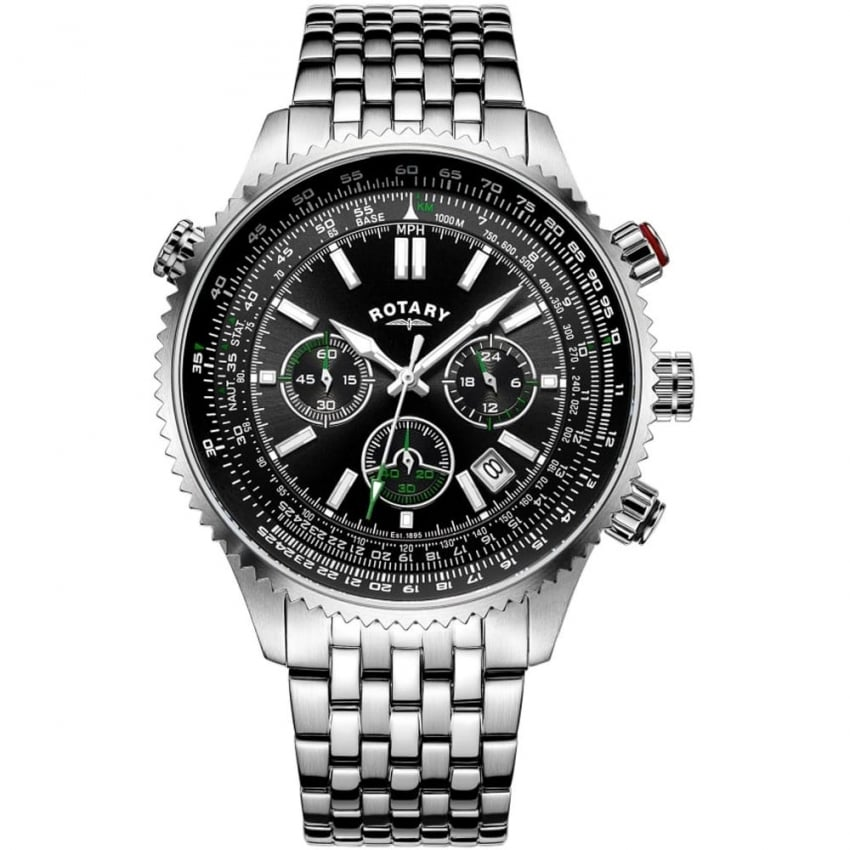 Rotary Men's Aviation Chronograph Steel Bracelet Watch GB00699/10