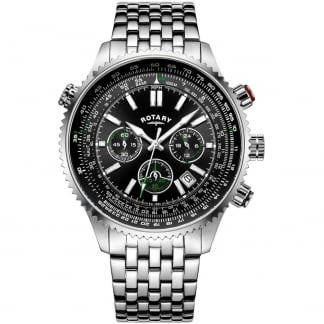 Men's Aviation Chronograph Steel Bracelet Watch