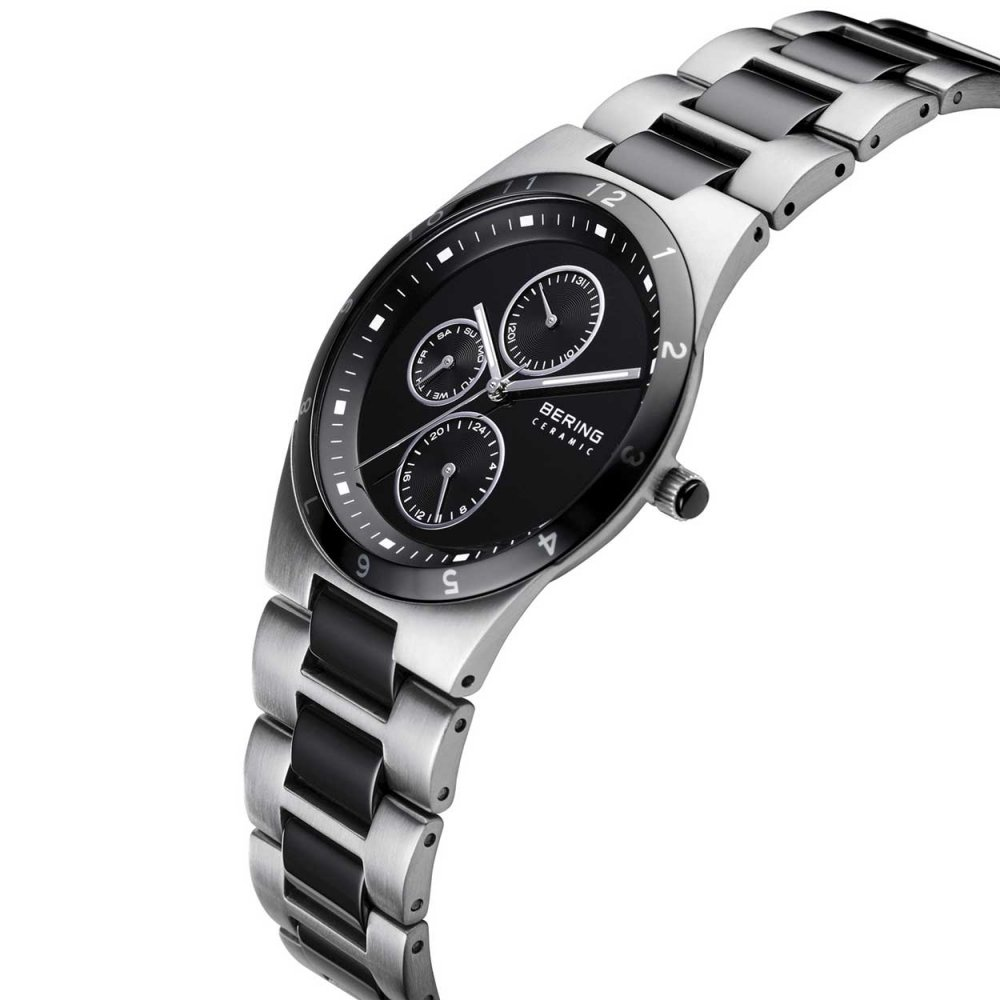 bering s black ceramic steel chronograph