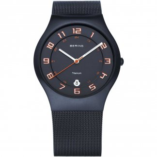 Men's Milanese Black Titanium Watch With Date