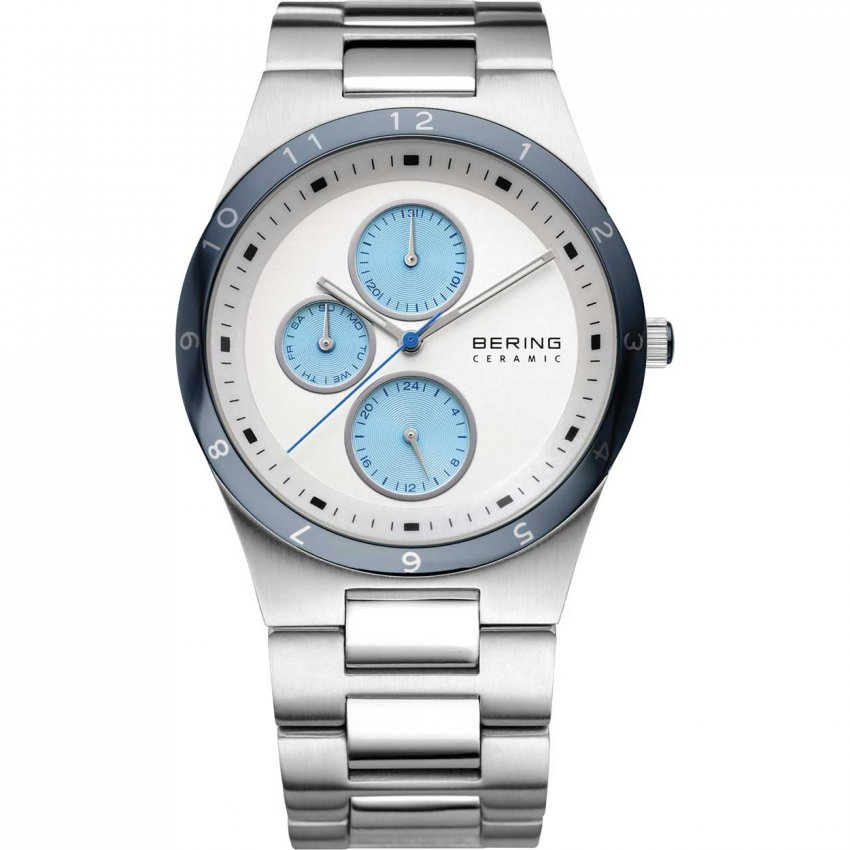 Bering Men's Blue Ceramic Bezel White Dial Chronograph Watch 32339-707