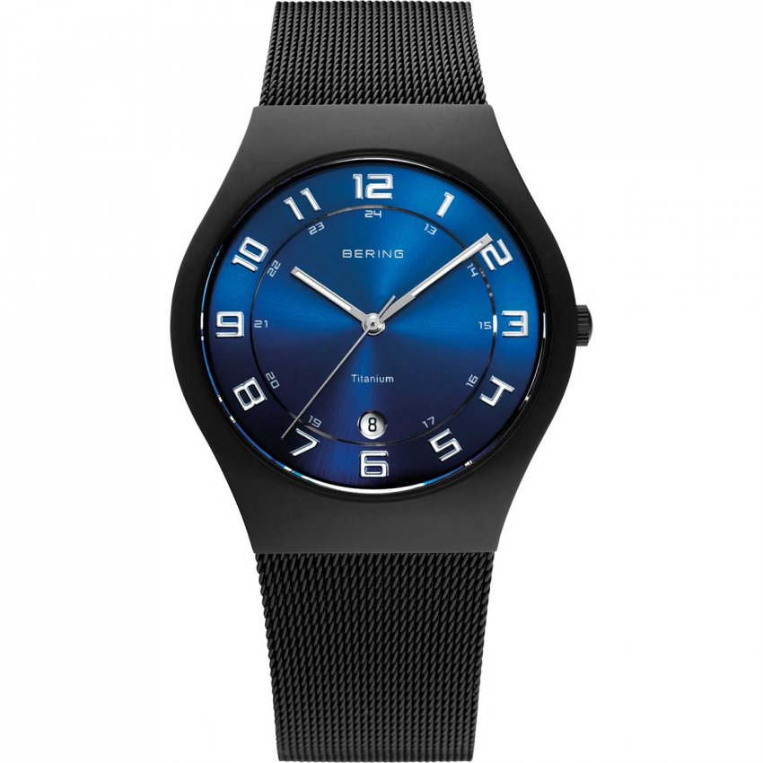 Bering Men's Blue Dial Black Ion Plated Titanium Watch 11937-227