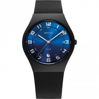 Men's Blue Dial Black Ion Plated Titanium Watch