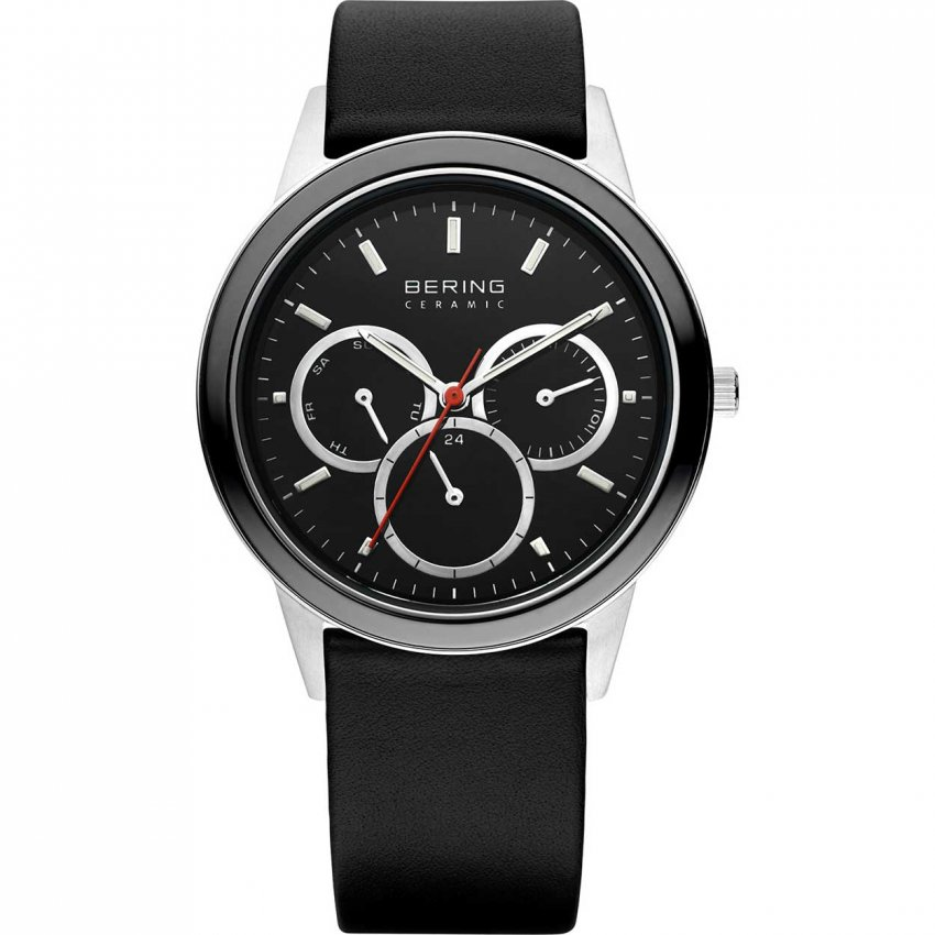 Bering Men's Ceramic Black Leather Chronograph Watch 33840-442
