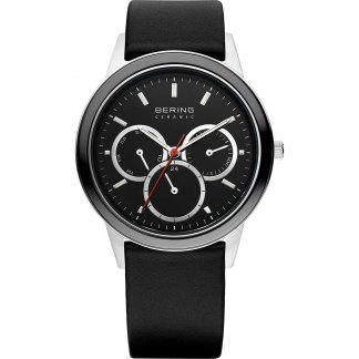 Men's Ceramic Black Leather Chronograph Watch