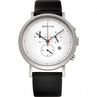 Gent's Classic Black Leather Chronograph Watch