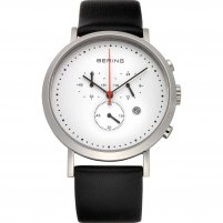 Bering Gent's Classic Black Leather Chronograph Watch 10540-404