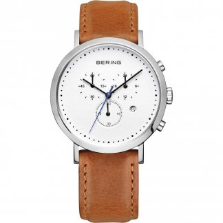 Men's Classic Brown Leather Chronograph Watch