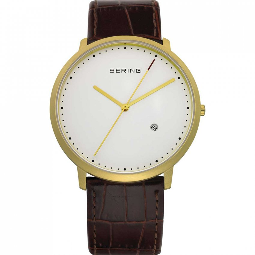 Bering Men's Classic Gold Plated Brown Leather Watch 11139-534