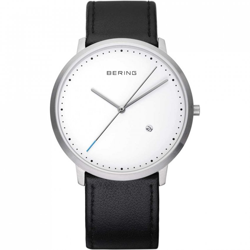 Bering Gent's Classic Black Leather Watch With Date 11139-404