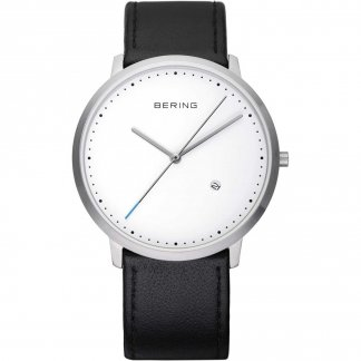 Gent's Classic Black Leather Watch With Date