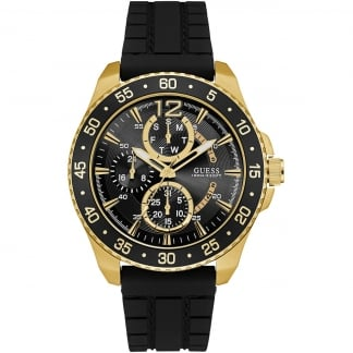 Men's Black and Gold Multifunction Jet Watch