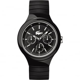 Men's Black Borneo Chronograph Watch with White Accents
