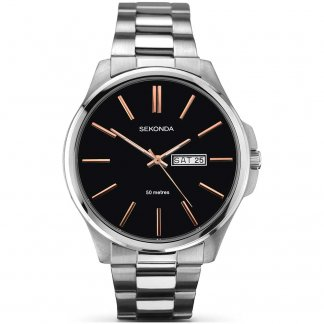 Men's Black Dial Day/Date Watch With Rose Gold Detail