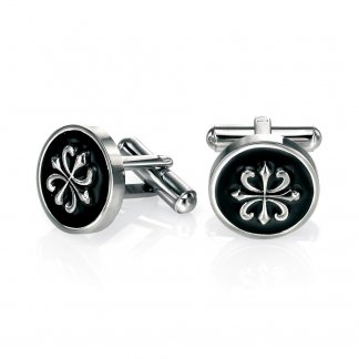 Men's Black Enamel Round Motif Cufflinks V461