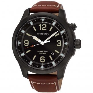 Men's Black Ion Plated Brown Leather Kinetic Watch
