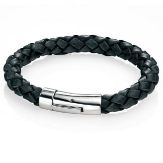 Men's Black Leather And Steel Clasp Braid Bracelet