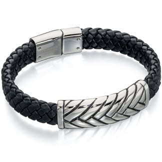 Men's Black Leather Bracelet with Patterned Steel Detail