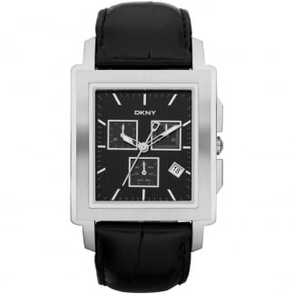Men's Black Leather Strap Chronograph Watch