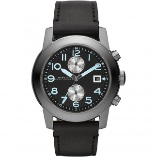 Men's Black Leather Strap Larry Chronograph Watch
