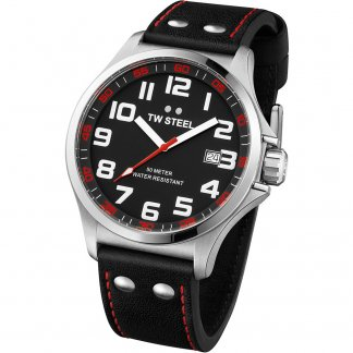 Men's 48MM Black Leather Strap Pilot Watch
