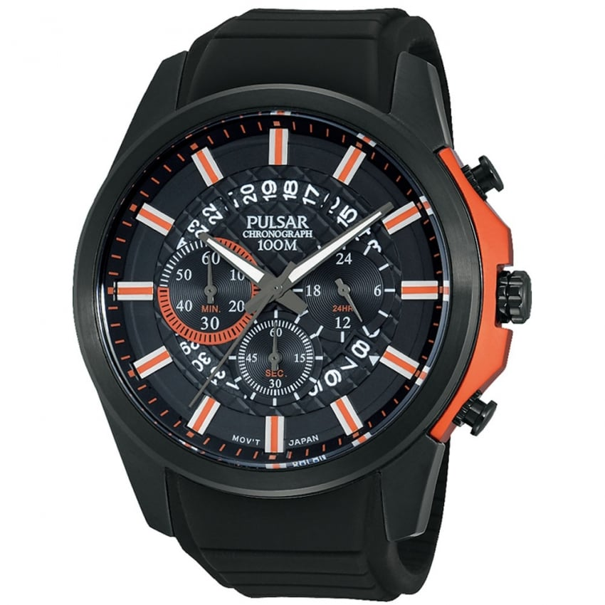 Pulsar Men's Black Patterned Dial Multifunction Sports Watch PT3561X1