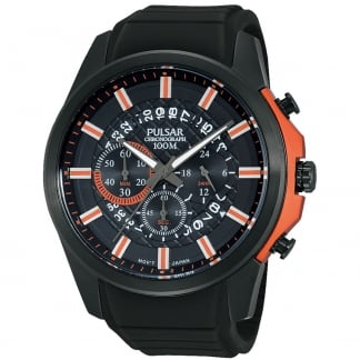 Men's Black Patterned Dial Multifunction Sports Watch