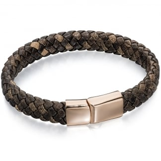 Men's Black Plaited Leather Bracelet with Rose Gold Detail