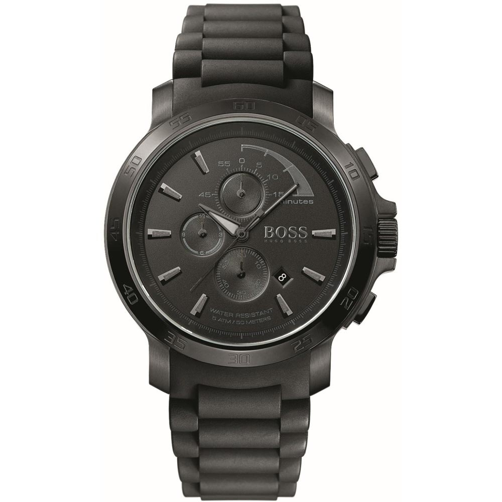 3dfb657a5496 Hugo Boss Men s All Black Rubber Strap Sports Chronograph Watch Product  Code  1512393
