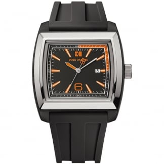 Men's Black Rubber Strap Watch with Orange Accents