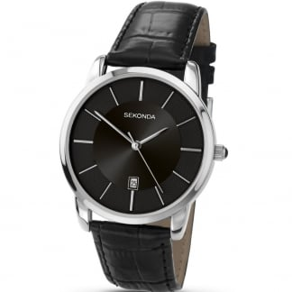 Men's Quartz Black Leather Strap Watch