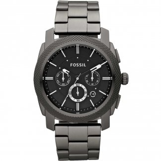 Men's Black Steel Bracelet Machine Watch