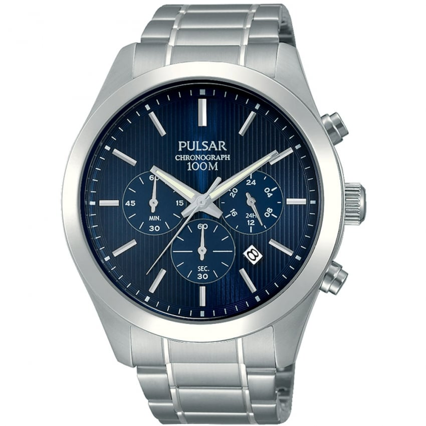 Pulsar Men's Blue Dial and Steel Chronograph Watch PT3655X1