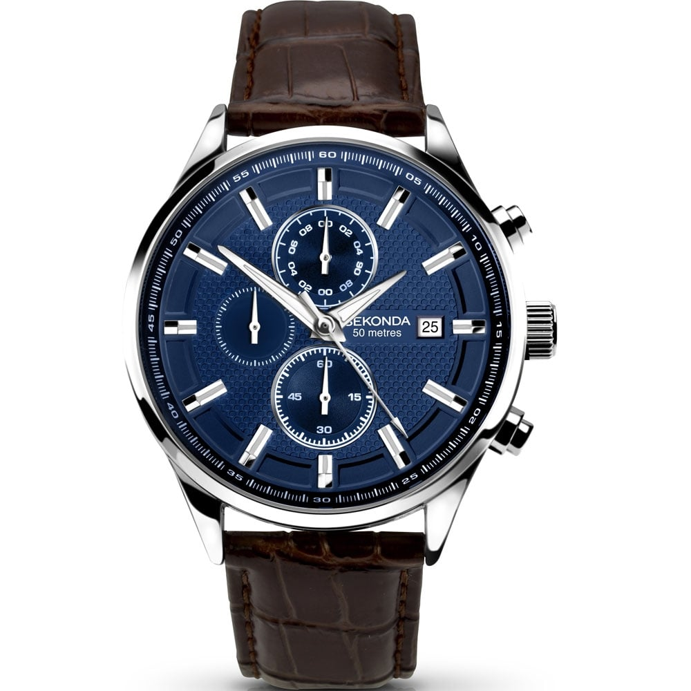 ff13859aa Men's Blue Dial Leather Strap Chronograph Watch Product Code: 1186