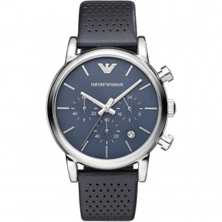 Men's Blue Dial Leather Strap Chronograph Watch AR1736