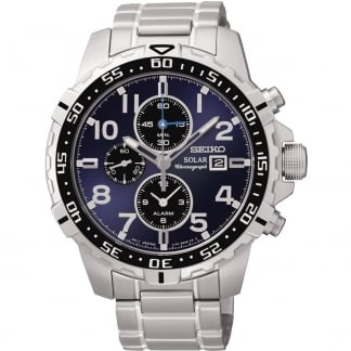 Men's Blue Dial Solar Chronograph Bracelet Watch