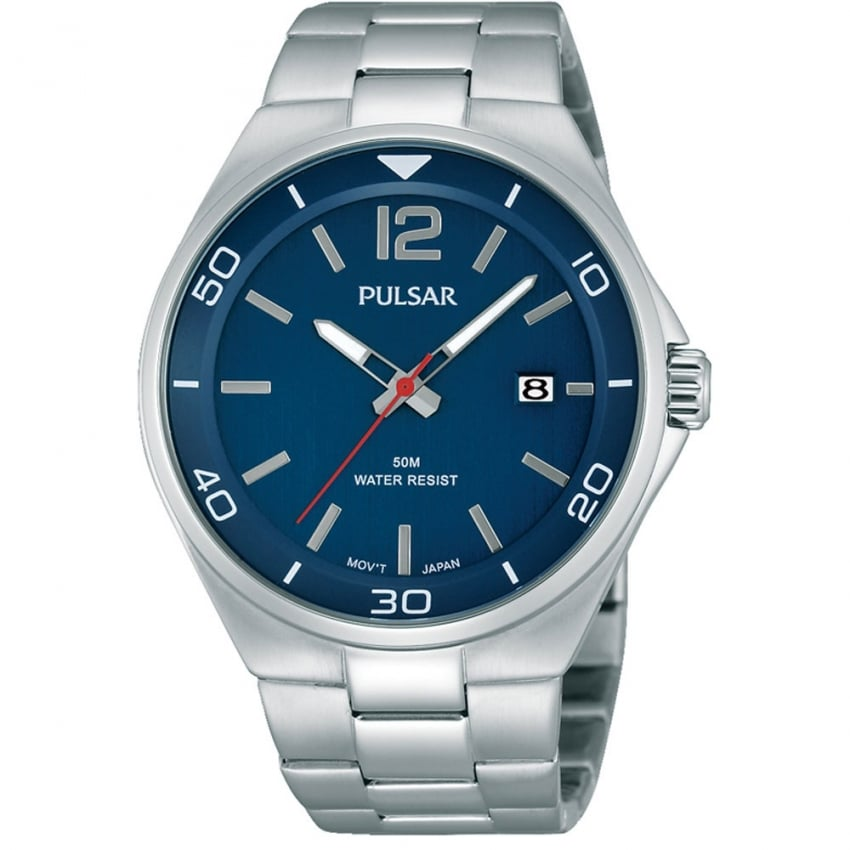 Men's Blue Dial Stainless Steel Dress Watch PS9325X1