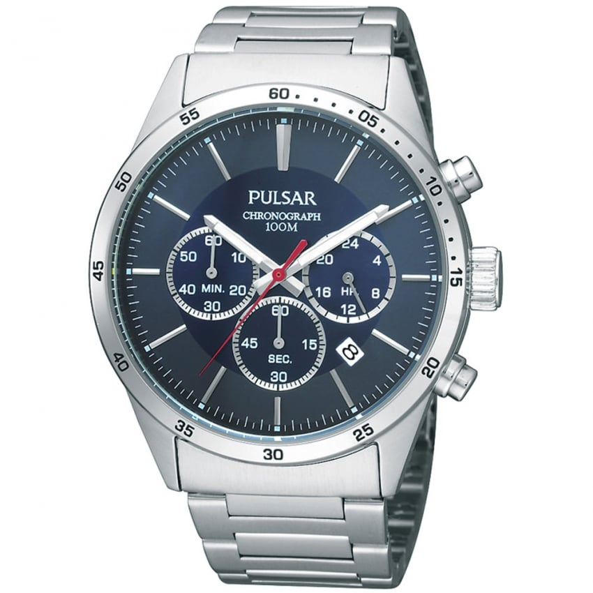 Pulsar Men's Blue Dial Steel Chronograph Watch PT3003X1