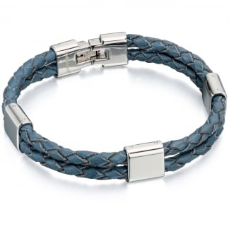 Men's Blue Leather Double Strand Bracelet