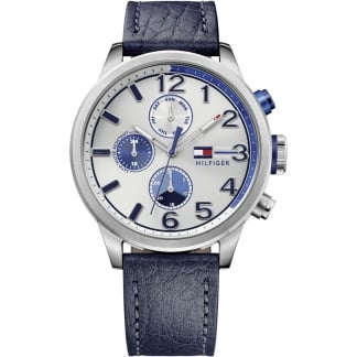 Men's Blue Leather Multifunction Jackson Watch