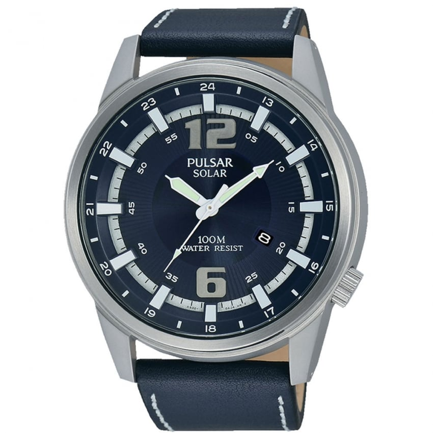 Pulsar Men's Blue Leather Solar Sport X Collection Watch PX3083X1