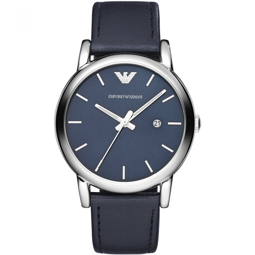 Emporio Armani Men's Blue Leather Strap Watch AR1731