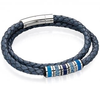Men's Blue Leather Wrap Around Bracelet with Bead Detail