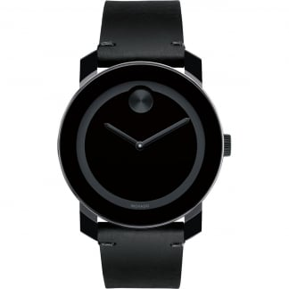 Men's Bold Black Leather Black PVD Watch