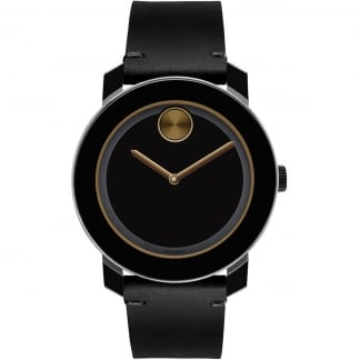 Men's Bold Black PVD Leather Strap Watch