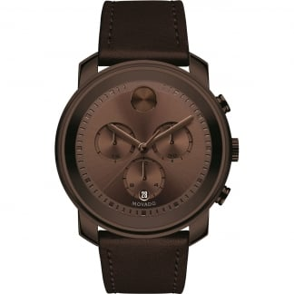 Men's Bold Chocolate Leather Chronograph Watch