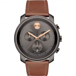 Men's Bold Cognac Leather Chronograph Watch