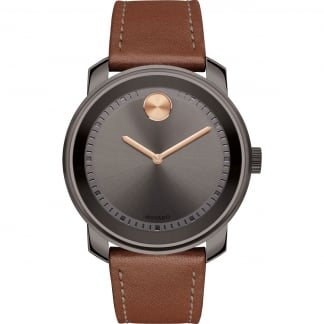 Men's Bold Cognac Leather Gunmetal Watch
