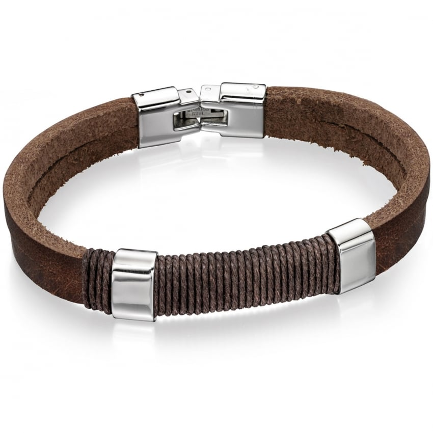 Fred Bennett Men's Brown Leather Cord Bracelet B4558