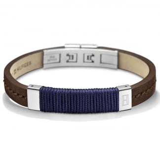 Men's Brown Leather Fabric Bracelet